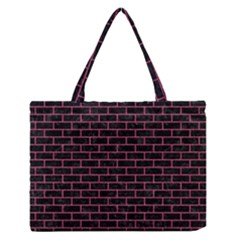 Brick1 Black Marble & Pink Denim (r) Zipper Medium Tote Bag by trendistuff