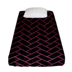 Brick2 Black Marble & Pink Denim (r) Fitted Sheet (single Size) by trendistuff