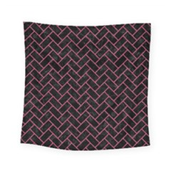 Brick2 Black Marble & Pink Denim (r) Square Tapestry (small) by trendistuff