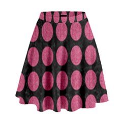 Circles1 Black Marble & Pink Denim (r) High Waist Skirt by trendistuff