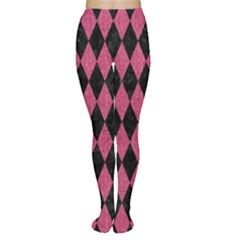 Diamond1 Black Marble & Pink Denim Women s Tights by trendistuff