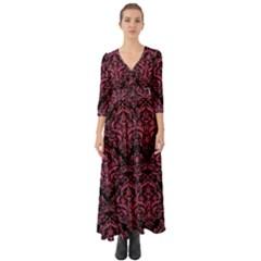 Damask1 Black Marble & Pink Denim (r) Button Up Boho Maxi Dress
