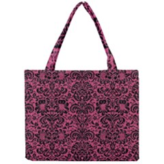 Damask2 Black Marble & Pink Denim Mini Tote Bag by trendistuff