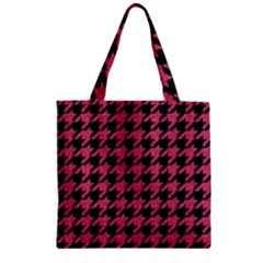 Houndstooth1 Black Marble & Pink Denim Zipper Grocery Tote Bag by trendistuff