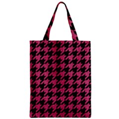 Houndstooth1 Black Marble & Pink Denim Zipper Classic Tote Bag by trendistuff