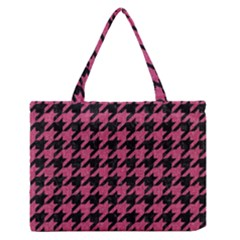Houndstooth1 Black Marble & Pink Denim Zipper Medium Tote Bag by trendistuff