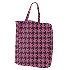 Houndstooth1 Black Marble & Pink Denim Giant Grocery Zipper Tote by trendistuff