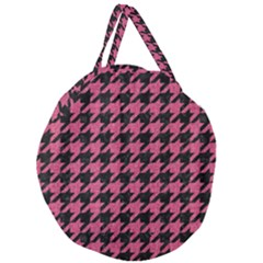 Houndstooth1 Black Marble & Pink Denim Giant Round Zipper Tote by trendistuff