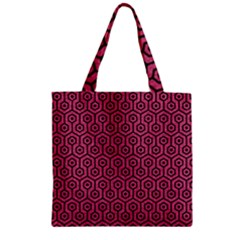 Hexagon1 Black Marble & Pink Denim Zipper Grocery Tote Bag by trendistuff