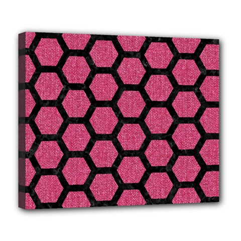 Hexagon2 Black Marble & Pink Denim Deluxe Canvas 24  X 20   by trendistuff