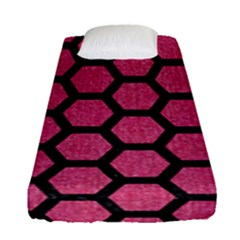 Hexagon2 Black Marble & Pink Denim Fitted Sheet (single Size) by trendistuff