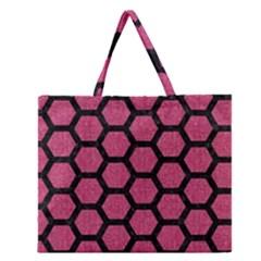 Hexagon2 Black Marble & Pink Denim Zipper Large Tote Bag by trendistuff