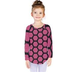 Hexagon2 Black Marble & Pink Denim Kids  Long Sleeve Tee by trendistuff