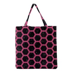 Hexagon2 Black Marble & Pink Denim (r) Grocery Tote Bag by trendistuff