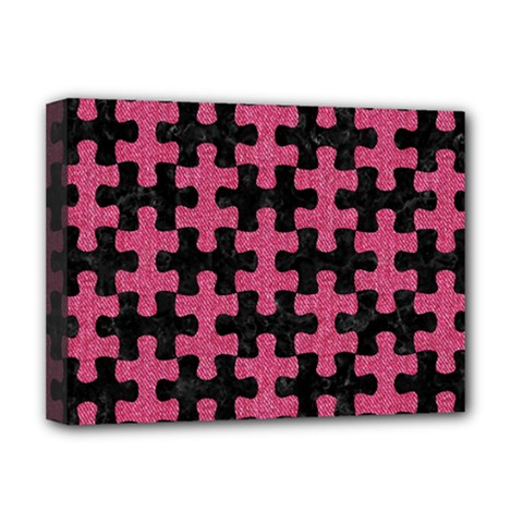Puzzle1 Black Marble & Pink Denim Deluxe Canvas 16  X 12   by trendistuff