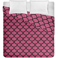 Scales1 Black Marble & Pink Denim Duvet Cover Double Side (king Size) by trendistuff