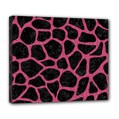 Skin1 Black Marble & Pink Denim Deluxe Canvas 24  X 20   by trendistuff