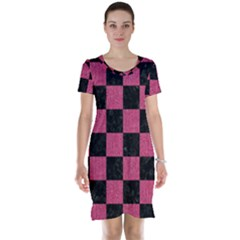Square1 Black Marble & Pink Denim Short Sleeve Nightdress