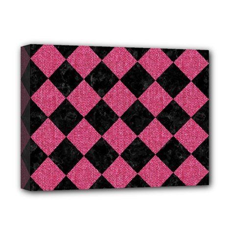 Square2 Black Marble & Pink Denim Deluxe Canvas 16  X 12   by trendistuff