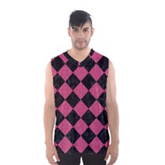 Square2 Black Marble & Pink Denim Men s Basketball Tank Top
