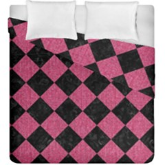 Square2 Black Marble & Pink Denim Duvet Cover Double Side (king Size) by trendistuff