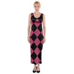 Square2 Black Marble & Pink Denim Fitted Maxi Dress