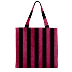 Stripes1 Black Marble & Pink Denim Zipper Grocery Tote Bag by trendistuff