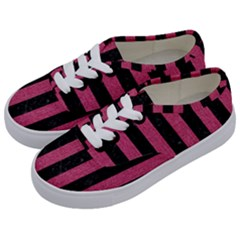 Stripes1 Black Marble & Pink Denim Kids  Classic Low Top Sneakers by trendistuff