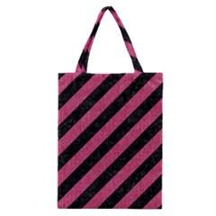 Stripes3 Black Marble & Pink Denim (r) Classic Tote Bag by trendistuff
