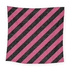Stripes3 Black Marble & Pink Denim (r) Square Tapestry (large) by trendistuff