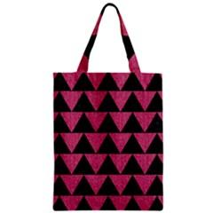 Triangle2 Black Marble & Pink Denim Zipper Classic Tote Bag by trendistuff