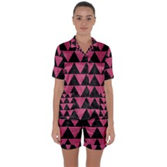Triangle2 Black Marble & Pink Denim Satin Short Sleeve Pyjamas Set