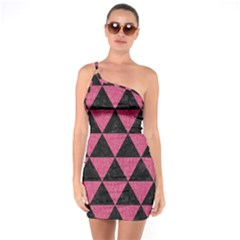 Triangle3 Black Marble & Pink Denim One Soulder Bodycon Dress