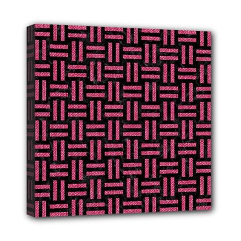 Woven1 Black Marble & Pink Denim (r) Mini Canvas 8  X 8  by trendistuff