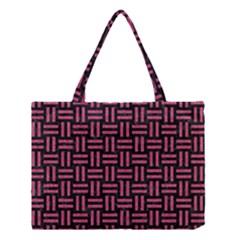 Woven1 Black Marble & Pink Denim (r) Medium Tote Bag by trendistuff