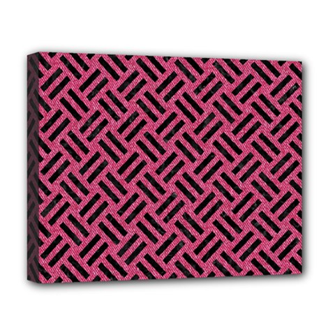 Woven2 Black Marble & Pink Denim Deluxe Canvas 20  X 16   by trendistuff