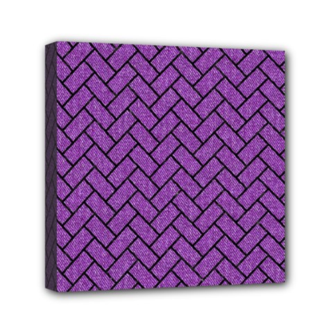 Brick2 Black Marble & Purple Denim Mini Canvas 6  X 6  by trendistuff