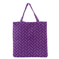 Brick2 Black Marble & Purple Denim Grocery Tote Bag by trendistuff