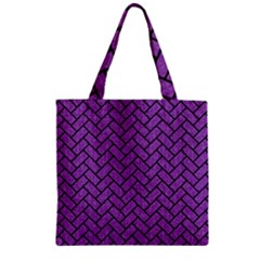 Brick2 Black Marble & Purple Denim Zipper Grocery Tote Bag by trendistuff