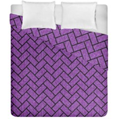 Brick2 Black Marble & Purple Denim Duvet Cover Double Side (california King Size) by trendistuff