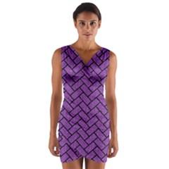 Brick2 Black Marble & Purple Denim Wrap Front Bodycon Dress by trendistuff