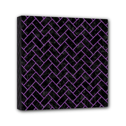 Brick2 Black Marble & Purple Denim (r) Mini Canvas 6  X 6  by trendistuff