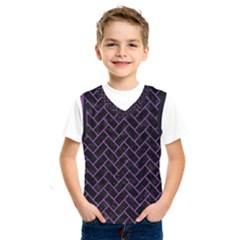 Brick2 Black Marble & Purple Denim (r) Kids  Sportswear by trendistuff