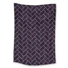 Brick2 Black Marble & Purple Denim (r) Large Tapestry by trendistuff