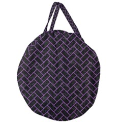 Brick2 Black Marble & Purple Denim (r) Giant Round Zipper Tote by trendistuff