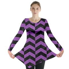 Chevron2 Black Marble & Purple Denim Long Sleeve Tunic  by trendistuff