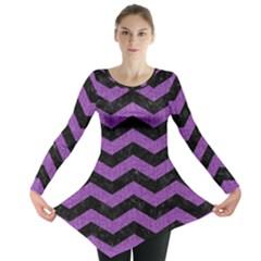 Chevron3 Black Marble & Purple Denim Long Sleeve Tunic  by trendistuff