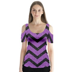 Chevron9 Black Marble & Purple Denim Butterfly Sleeve Cutout Tee  by trendistuff