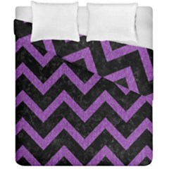 Chevron9 Black Marble & Purple Denim (r) Duvet Cover Double Side (california King Size) by trendistuff
