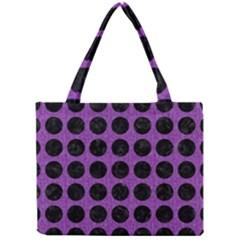 Circles1 Black Marble & Purple Denim Mini Tote Bag by trendistuff